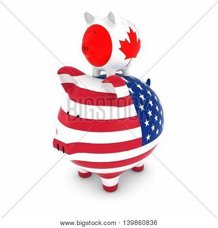 Canadian Flag Piggy Bank Piggybacking On Us Piggy Bank Economic Concept 3D Illustration