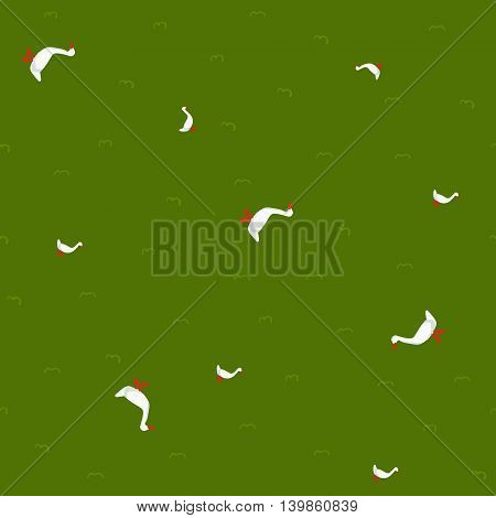 Funny childisg goose seamless pattern on green