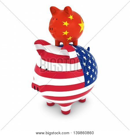 Chinese Flag Piggy Bank Piggybacking On Us Piggy Bank Economic Concept 3D Illustration