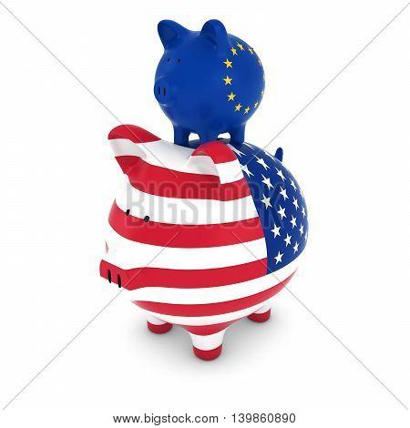 European Flag Piggy Bank Piggybacking on US Piggy Bank Economic Concept 3D Illustration
