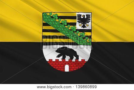 Flag of Saxony-Anhalt is a landlocked federal state of Germany. 3d illustration