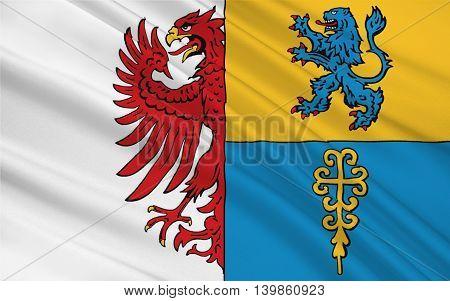 Flag of Altmarkkreis Salzwedel is a district in Saxony-Anhalt Germany. 3d illustration