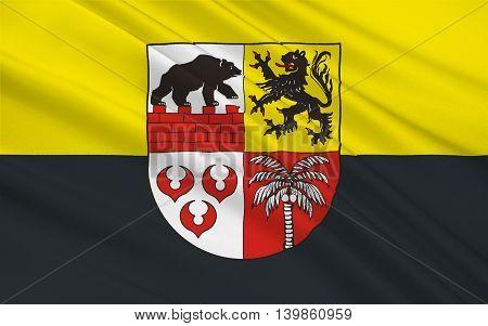 Flag of Anhalt-Bitterfeld is a district in Saxony-Anhalt Germany. 3d illustration