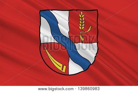 Flag of Borde a district in Saxony-Anhalt in Germany. 3d illustration