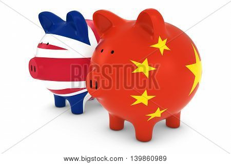 British And Chinese Flag Piggy Banks International Trade Concept 3D Illustration