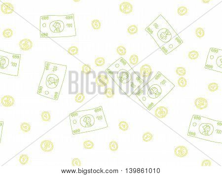 Doodle colorful money elements pattern on white