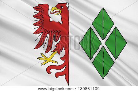 Flag of Hansestadt Stendal is a town in Saxony-Anhalt Germany. 3d illustration