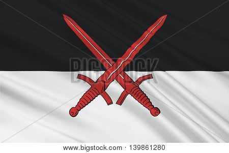 Flag of Wittenberg is a district in the east of Saxony-Anhalt Germany. 3d illustration