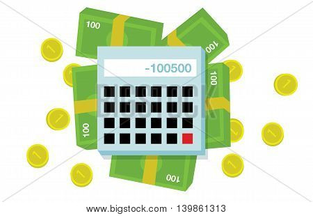 Flat money and calculator illustration on white