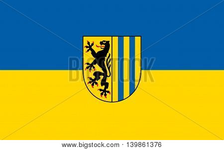 Flag of Leipzig is the largest city in the federal state of Saxony Germany