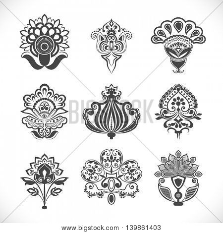 Vintage decorative flowers vector set isolated on white background. Flower shapes to use as brushes or elements of design.