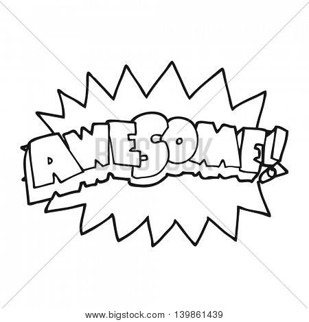 freehand drawn black and white cartoon awesome symbol