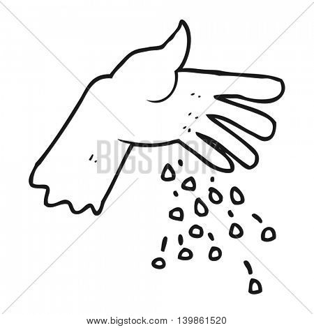 freehand drawn black and white cartoon hand spreading seeds