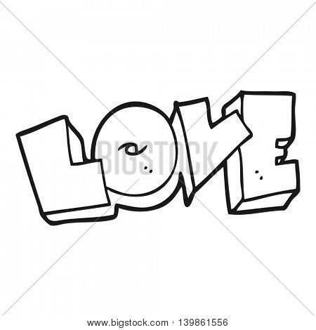 freehand drawn black and white cartoon love sign
