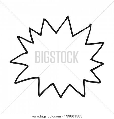 freehand drawn black and white cartoon simple explosion symbol