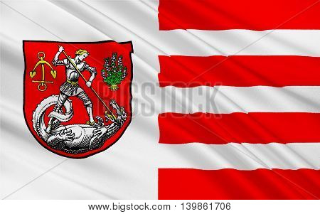Flag of Heide is a town in Schleswig-Holstein Germany. 3d illustration