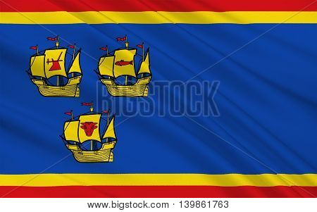 Flag of Nordfriesland is a district in Schleswig-Holstein Germany. 3d illustration