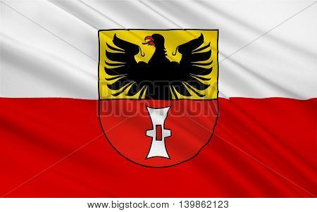 Flag of Mulhausen is a city in Thuringia Germany. 3d illustration