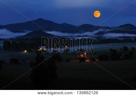 Czech Switzerland in the night mist and full moon