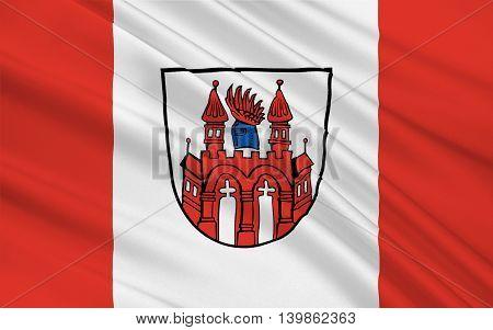 Flag of Neubrandenburg is a city in the southeast of Mecklenburg-Vorpommern Germany. 3d illustration