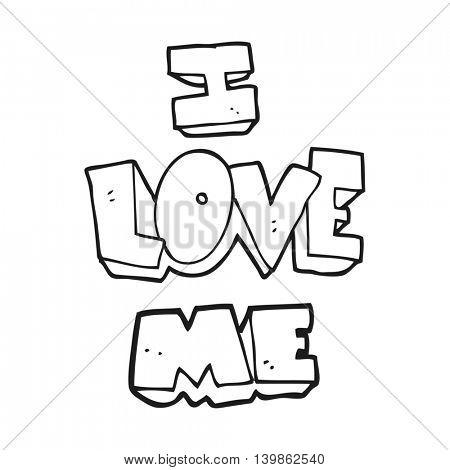 i love me freehand drawn black and white cartoon symbol