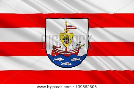 Flag of Wismar is a port and Hanseatic city in Northern Germany. 3d illustration