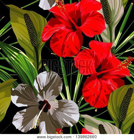 Red and white hibiscus flowers with green leaves on a black background. Vector pattern seamless