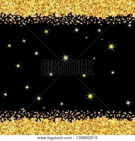 Gold Sparkles On Black Background.