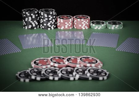 Green Casino Table With Covered Playing Cards, Red And Black Chips - Vintage