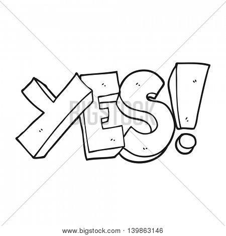 freehand drawn black and white cartoon yes symbol