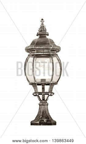 Old classic dusty oil lamp on white background.
