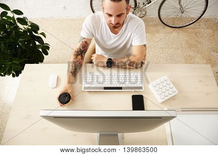 Freelancer With Many Hobbies Working At Home Set