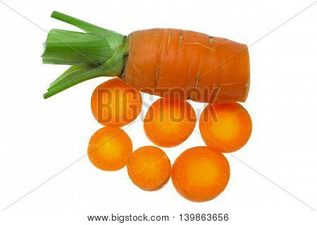 Fresh Carrot And Slice Carrot On The White Background