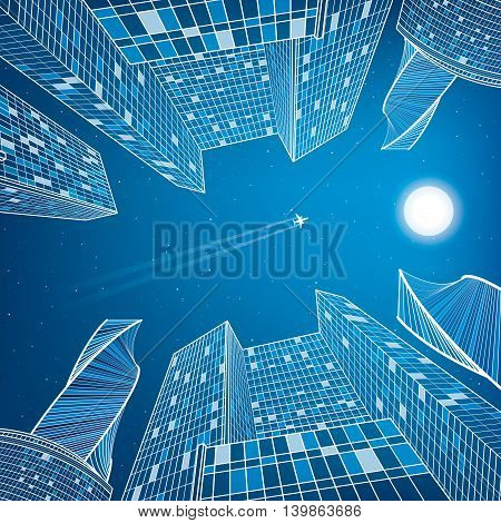 Business building, night city, urban scene, infrastructure illustration, modern architecture, skyscrapers, airplane flying, vector design art
