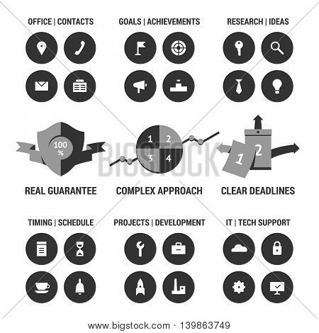 Icons set of company development area. Black.