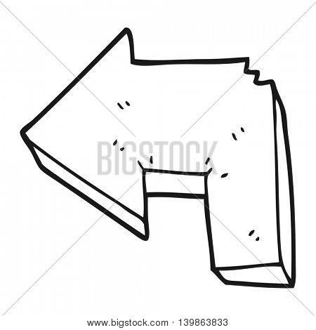 freehand drawn black and white cartoon direction arrow