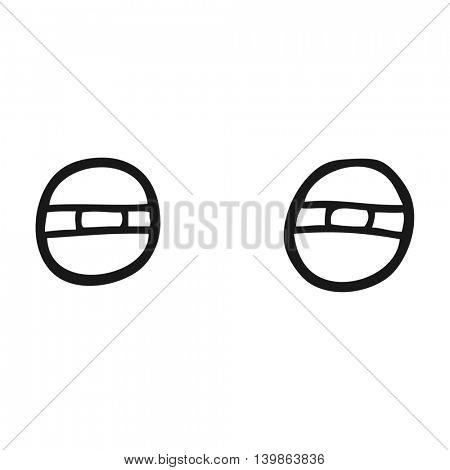freehand drawn black and white cartoon suspicious eyes