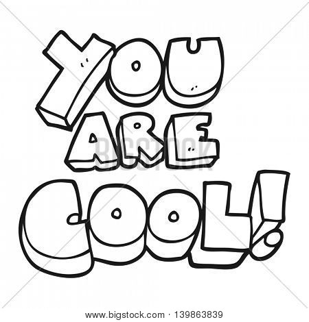 you are freehand drawn black and white cartoon cool symbol