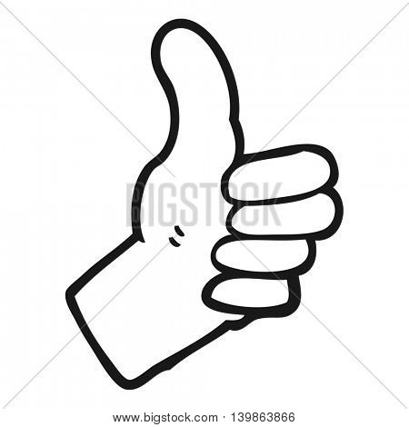 freehand drawn black and white cartoon thumbs up sign