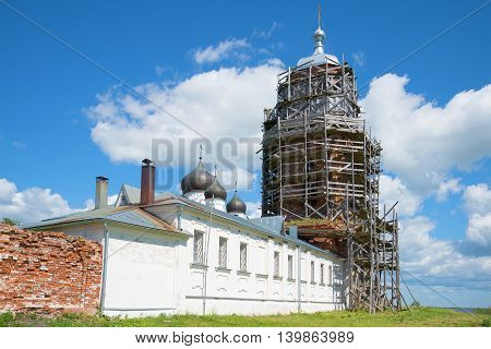 View on the old bell tower of Michael of Klopsk monastery on a sunny june day. Novgorod region, Russia