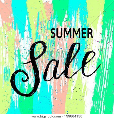 Summer Sale banner with color stripes. Vector illustration.