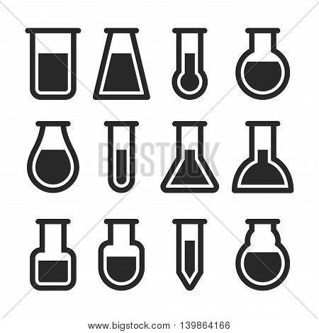 Chemical Test Tubes Icons Set. Vector illustration