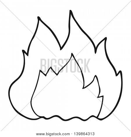 freehand drawn black and white cartoon fire