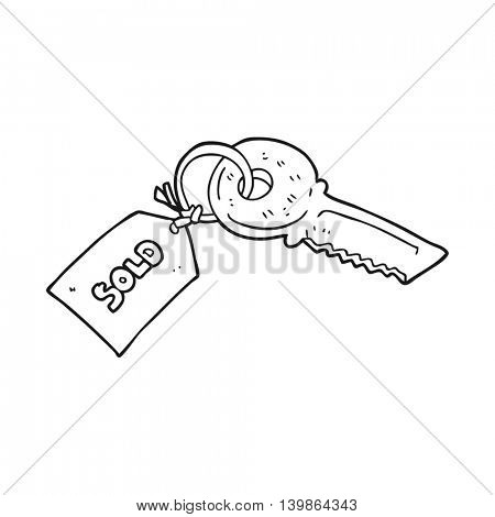 freehand drawn black and white cartoon key with sold tag