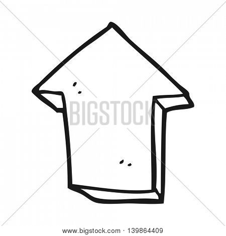 freehand drawn black and white cartoon arrow pointing