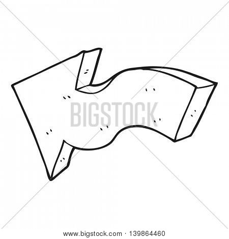 freehand drawn black and white cartoon pointing arrow