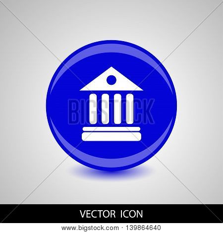 University Icon Isolated on blue Background. Vector illustration.