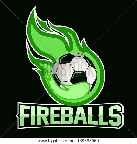 Flying soccer ball with green fire flames on dark background. Design element. Vintage item. Modern professional logo for sport team.