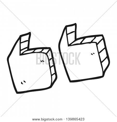 freehand drawn black and white cartoon quotation marks