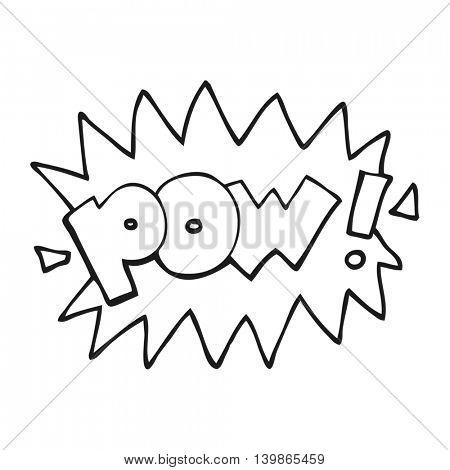 freehand drawn black and white cartoon pow symbol